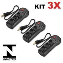 Kit 3 Filtro de Linha Régua com 3 Tomadas  Preto Bivolt Chave e Proteção