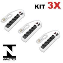 Kit 3 Filtro de Linha Régua com 5 Tomadas Branco Bivolt Chave e Proteção