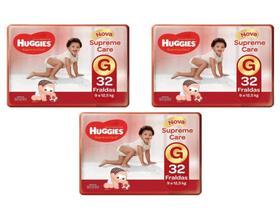 Kit 3 fraldas huggies supreme care tam g - 9 a 12,5kg - 96 unidades