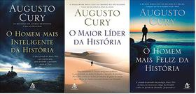 KIT 3 LIVROS AUGUSTO CURY O HOMEM MAIS inteligente da história + maior líder da história + MAIS FELIZ DA HISTORIA