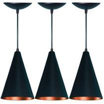 Kit 3 Lustres Pendente Cone em Alumínio Preto Fosco e Cobre