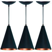 Kit 3 Lustres Pendente Cone em Alumínio Preto Fosco e Cobre AS LUMINARIAS