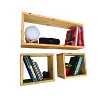 Kit 3 Nichos Retangular Estante Livros Suporte Invisivel Top Rústico Banheiro Casa
