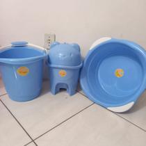 Kit 3 Peças Bacia, Balde e Lixeira Adoleta Azul bebê