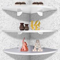 Kit 3 Prateleiras De Parede De Canto Organizadora P/ Quarto Sala Cozinha Em MDF 35 X 35 cm
