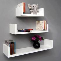 Kit 3 prateleiras U para livros, decoração MDF Branco