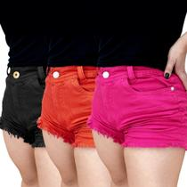 Kit 3 Shorts Jeans Luxo Feminino Cintura média Destroyed Colors Lindo