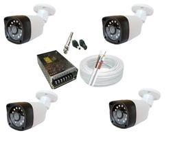 Kit 4 Câmeras Bullet externa Infra vermelho Hd  c/ Acessórios
