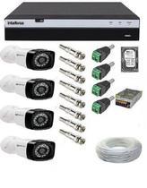 Kit 4 Câmeras De Segurança Full Hd 1080p  24 Leds Infra + Dvr Intelbras Mhdx 3104 Full Hd