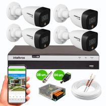 Kit 4 Câmeras de Segurança Intelbras VHD 1220 B Color Full HD 1080p 20m Infra 2MP DVR MHDX 3104