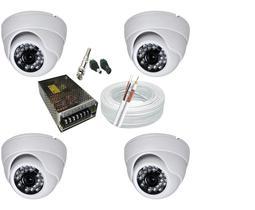Kit 4 Câmeras Dome Infra vermelho 1200 linhas alta Resolução com acessórios