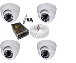 Kit 4 Câmeras Dome Infra vermelho Hd alta Resolução com acessórios
