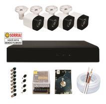 kit 4 câmeras infra vermelho analógica, Gravador DVR 4 canais com HD 160 gb.