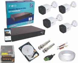 kit 4 câmeras infra vermelho hd, Gravador DVR 4 canais Inova