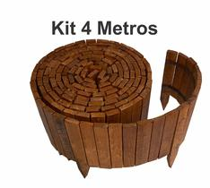 kit 4 metros Cerca de madeira contenção Limitador Divisor