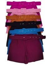 Kit 4  Shorts Feminino Com cinto Cintura Alta M aos Plus Size - M G ou GG até 52