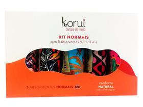 Kit 5 Absorventes Reutilizáveis Fluxo Normal Conforto Korui