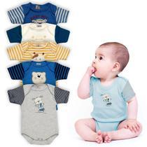 Kit 5 Bodys de Bebê Manga Curta Creep Baby Menino