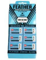 Kit 6 Caixas Lâminas Barbear Feather Platinum Compatível Gilette Wilkinson 10 Cada