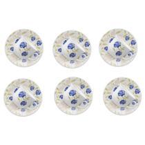 Kit 6 Xícaras para Chá com Pires Azul Perfeito Cerâmica 200ML MM21-1663 - Biona