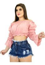 Kit 7 Shorts Jeans Luxo Feminino Cintura Alta Destroyed  : )