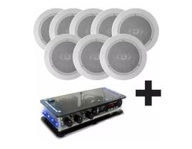 Kit Amplificador Residencial + 8 Caixas De Som Acústica Ambiente Gesso