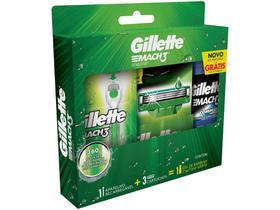 Kit Aparelho de Barbear Gillette Mach3 Acqua-Grip - Sensitive 2 Cargas Gel Mach3 Comple Defense 72ml