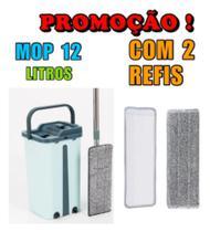Kit Balde Seca E Lava + Rodo Esfregão Mop Giratório + Refil