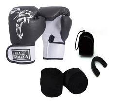 Kit Boxe Muay Thai Luva Bandagem Bucal Brazuca - Preta 12oz
