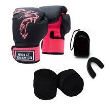 Kit Boxe Muay Thai Luva Bandagem Bucal Brazuca Rosa 12oz