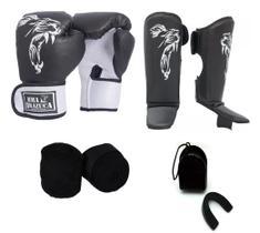 Kit Boxe Muay Thai Luva Caneleira Bandagem Bucal Brazuca Preta 12oz