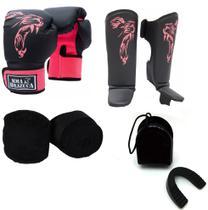 Kit Boxe Muay Thai Luva Caneleira Bandagem Bucal Brazuca Rosa 12oz