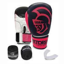 Kit Boxe Muay Thai Pretorian Performance Luva 12 OZ Rosa e Preta + Bandagem + Protetor Bucal