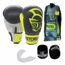Kit Boxe Muay Thai Pretorian Performance Luva 14 OZ Amarela e Preta + Bandagem + Protetor Bucal