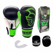 Kit Boxe Muay Thai Pretorian Performance Luva 14 OZ Verde e Preta + Bandagem + Protetor Bucal