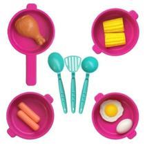 Kit Brinquedo Cozinha Infantil Panela Criativa Faz de Conta Panelinhas Roxo e verde