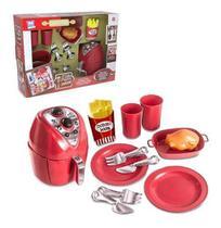 Kit Briquedo Air Fryer Kids Co,12 Pcs Vermelho E Comidinha