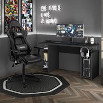 Kit Cadeira Gamer Moobx Thunder Preto + Mesa Gamer MX Preto com Gancho para HeadSet - MOOBX