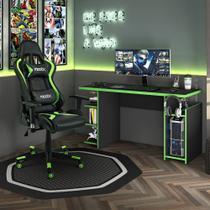 Kit Cadeira Gamer MoobX Thunder Verde + Mesa Gamer MX Verde com Gancho para HeadSet - MOOBX
