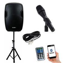 Kit Caixa de Som Ativa 210W RMS BDA-1515 SP Bootes Bluetooth USB + Microfone AKG P3S + Cabo + Tripé