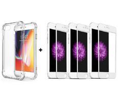 Kit Capa Anti Impacto + 3 Películas de Vidro 5D iPhone 7-8 / SE (2020) Ultra Resistente