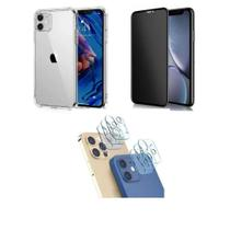 Kit Capa Anti Impacto + Pel. de Vidro 3D Privacidade Tela Toda + Pel. Lente da Câmera iPhone 12 Mini