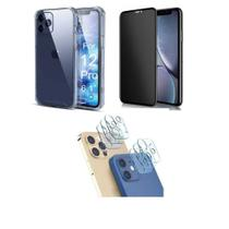 Kit Capa Anti Impacto + Pel. de Vidro Privacidade 3D Tela Toda + Pel. Lente da Câmera iPhone 12 Pro