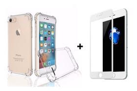 Kit Capa Anti Impacto Transparente + Película De Vidro 5D iPhone 6 6s 7 8 6 Plus 7 Plus 8 PLus