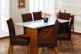 Kit capa cadeira jantar 8 peças - malha grossa