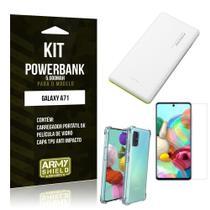 Kit Carregador Portátil 5K Tipo C Galaxy A71 + Capa Anti Impacto +Película Vidro - Armyshield