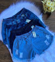 Kit com 10 Short Jeans Feminino com Elastico
