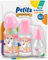 Kit Com 3 Mamadeira Petita Super Premium Cristal Cherie Bico Em Silicone BPA Free NOVIDADE