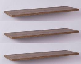 Kit com 3 Prateleiras 40 x 20cm Suporte Invisivel - Cor Nogal Malaga (madeira escura)