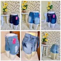 Kit com 3 Short Jeans Feminino Ziper e Bolso - Geo